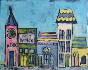 """Main Street"" 10 x 8 x 3/4 Acrylic on Canvas © 2015 Pam Wingard"