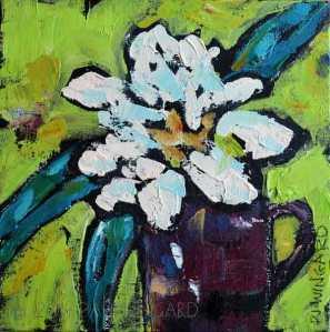 """BE Happy"" Acrylic on Canvas Panel 8 x 8 x 1/4″ $50.00 © 2015 Pam Wingard"