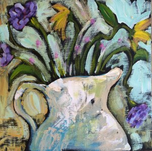 """Lovely"" Acrylic on Canvas Panel 10″ x 10″ x 1/4″. 50.00 © 2015 Pam Wingard"