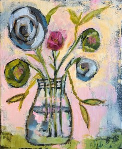 """Spring Flowers Jar"" Acrylic on canvas. 8″ x 10″ x 3/4″ $40 © 2015 Pam Wingard"